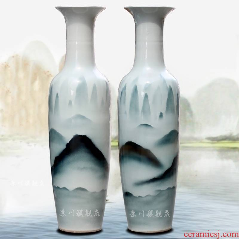 Jingdezhen hand - made color ink distant mountains ceramic sitting room of large vase household hotel furnishing articles of modern craft ornaments