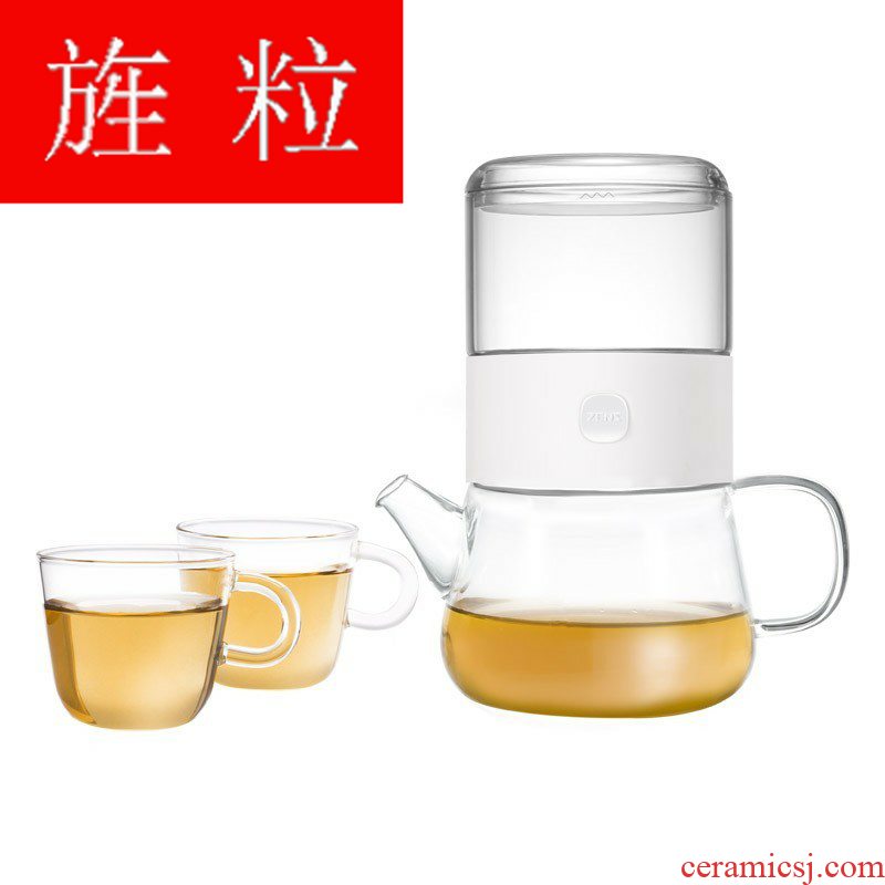 Continuous grain sent cup share suit a pot of wining two cups of heat - resistant glass tea set with filter tea cup