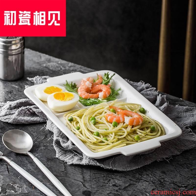 Porcelain meet each other at the beginning of Japanese ceramic frame plate snack plate household rectangular one adult food tableware children breakfast