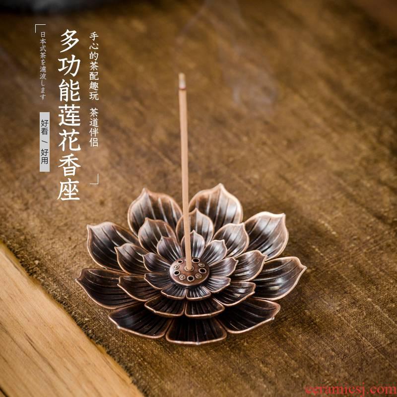 Alloy incense seat insert tea pastille zen incense coil creative household metal lotus censer kung fu tea accessories