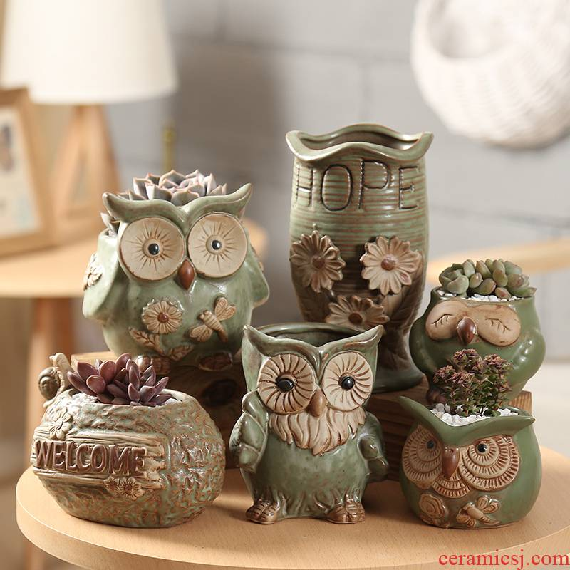 End fleshy flowerpot ceramic glaze K express it in owl zhuang zi special offer a clearance package mail big flower POTS indoors contracted