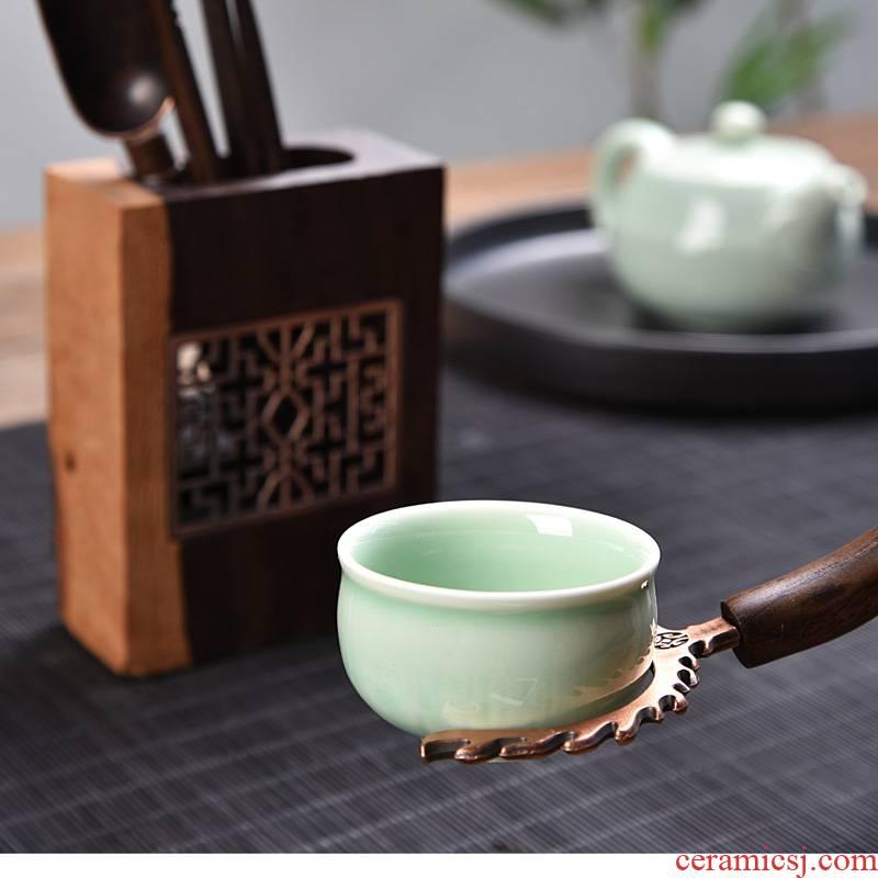 Retro pane kung fu tea six gentleman tea accessories set six gentleman 's real wood ebony five tea art furnishing articles