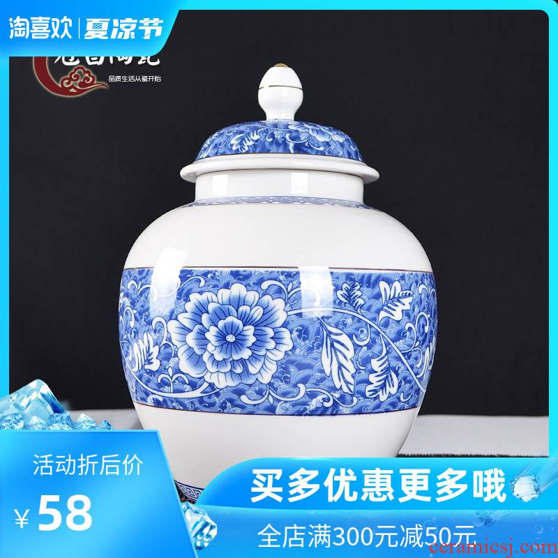 The Crown chang jingdezhen blue and white porcelain jar seal tea pot pot storage medium, general receive furnishing articles