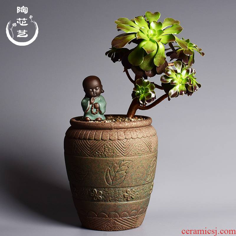 Creative ceramic household large fleshy plant POTS rich tree potted bracketplant orchid basin through pockets pottery flowerpot