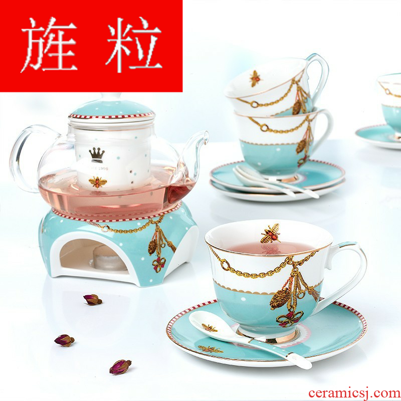 Continuous grain of European household heating ceramic based with thick glass teapot teacup flowers and tea set in the afternoon