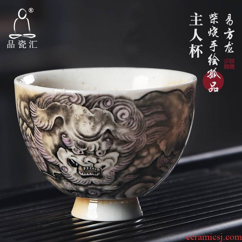 The Product porcelain jc westerndragons master cup single CPU hand - made teacup maintain huai heart burn tea cup lion roll a ball