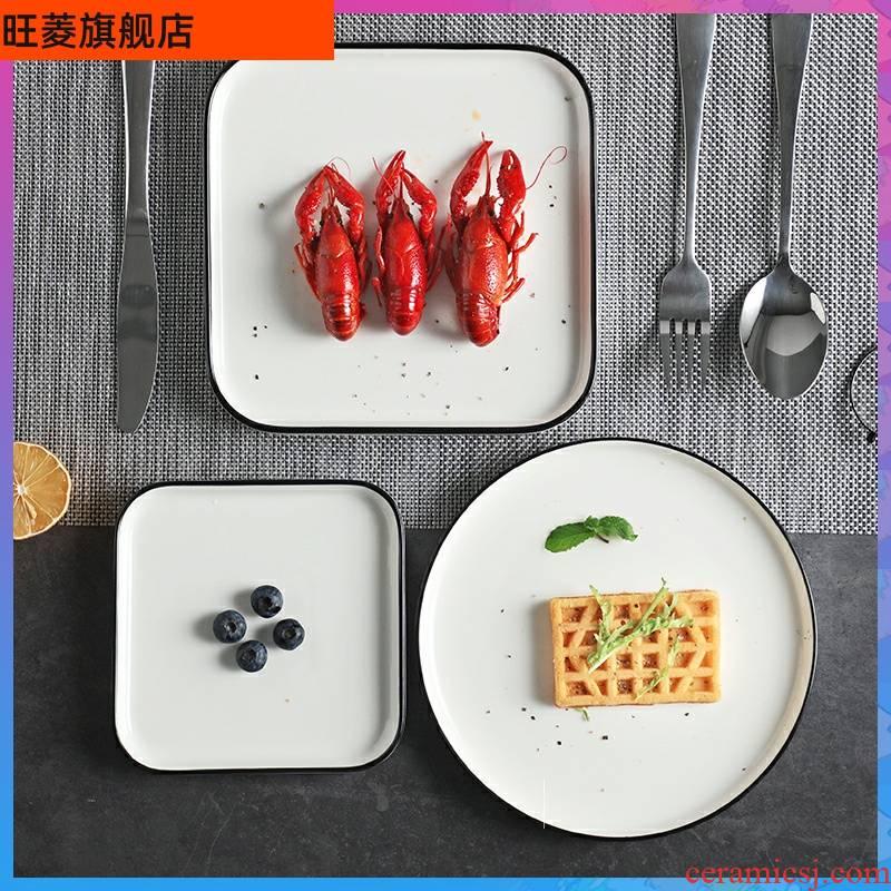 Creative steak dish western northern wind plate Japanese household food dish white ceramic ins wind breakfast.