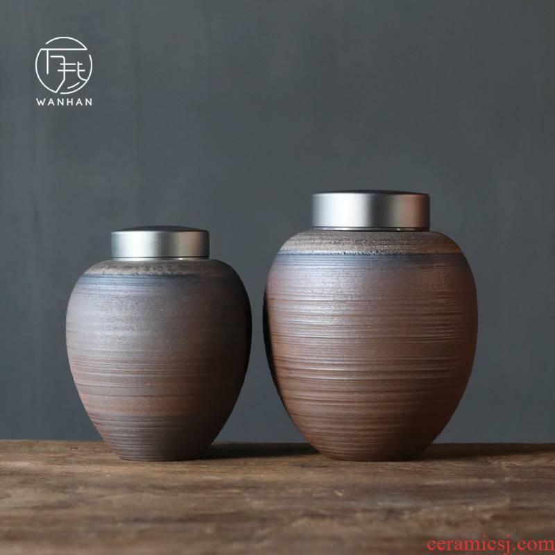 Coarse pottery caddy fixings household ceramic POTS size pu 'er tea box of creative move tea sealed storage tank