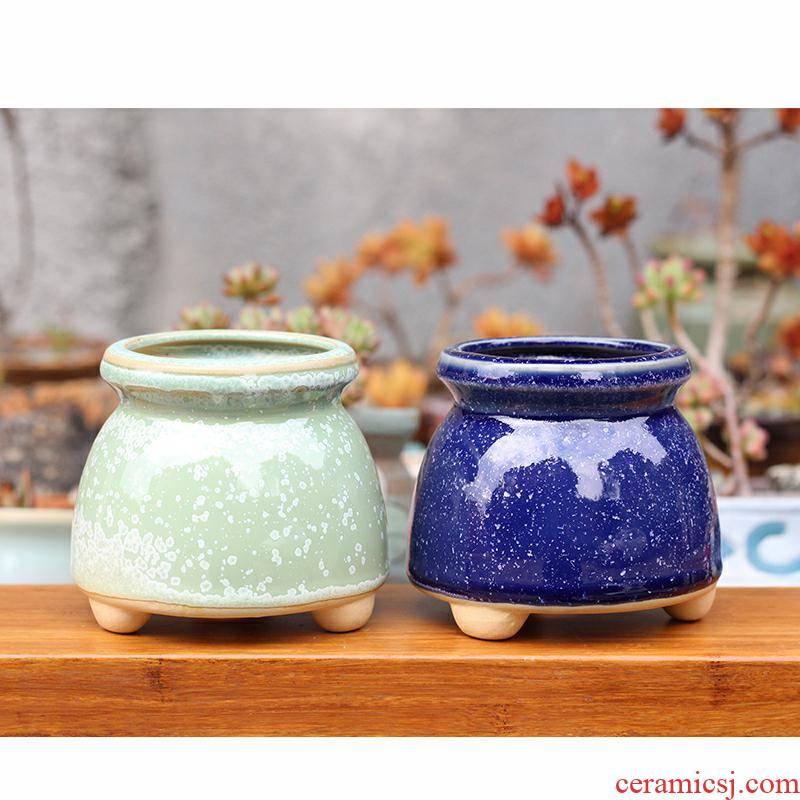 Meaty plant flower pot milk can flow ceramic glaze flowerpot flower pot in Korean contracted old running the coarse TaoTao dense eggs