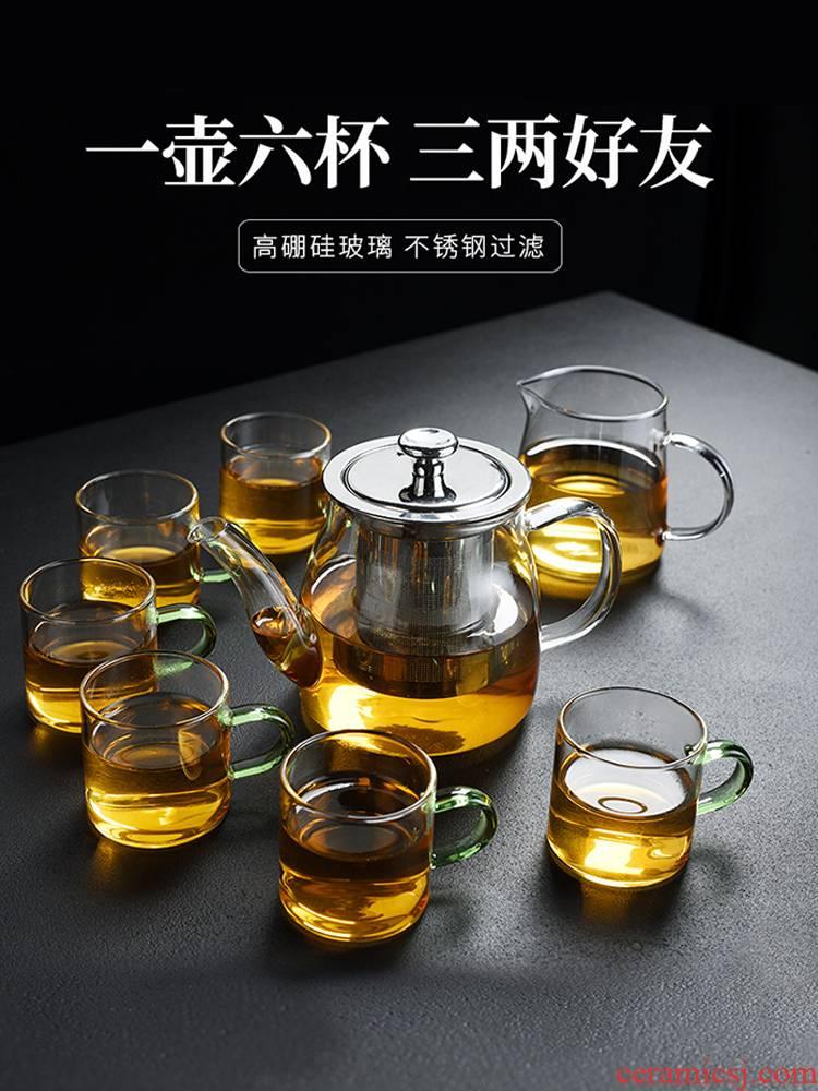 Old household tea tray, glass tea set at kung fu tea cup teapot office tea kettle