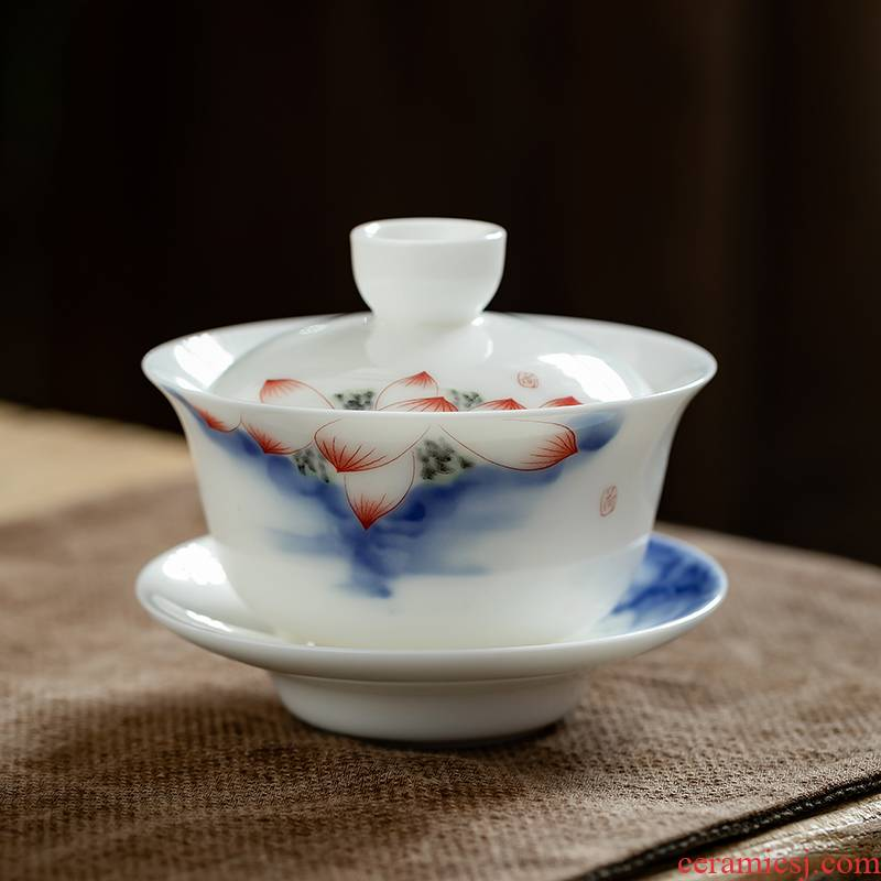 Fujian and the blue and white porcelain tureen contracted and I household ceramic tea bowl large cups only three cups of tea set