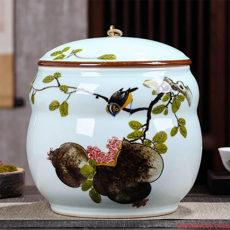 Caddy fixings ceramic seal pot store receives a large blue and white porcelain tea pot of pu 'er tea cake tin tea set