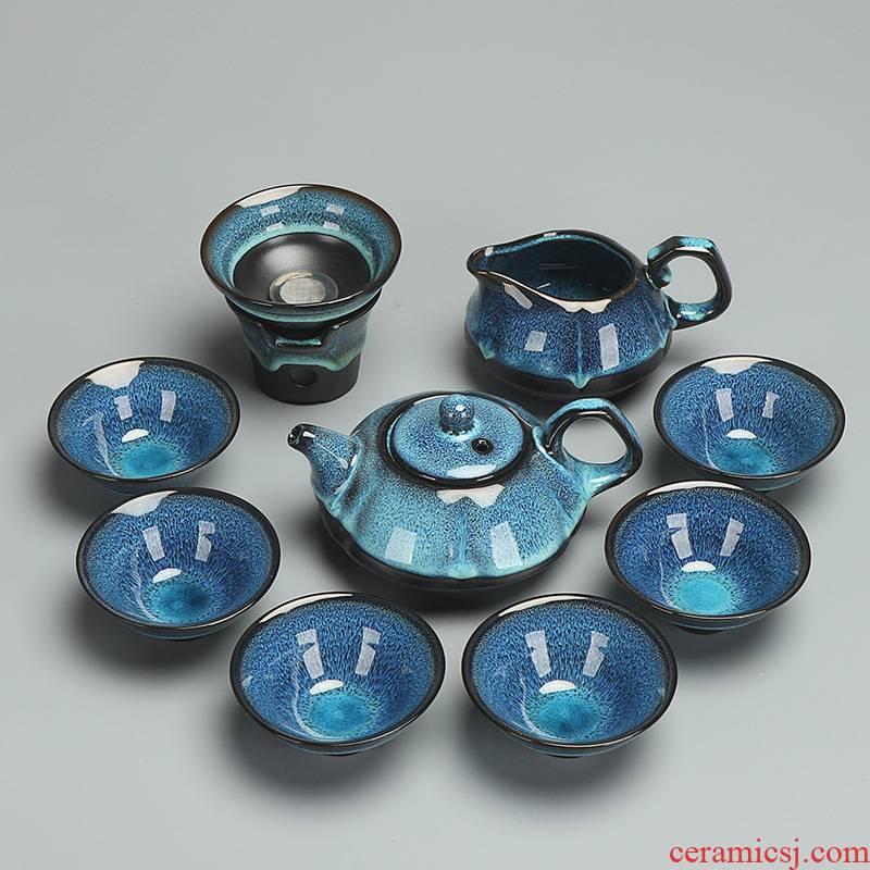 Xia Jiejian light purple sand tea set variable kung fu gift set ceramic teapot teacup masterpieces daily household gifts