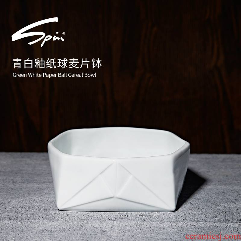 Spin paper ball cereal bowl of milk breakfast cereal bowl of ceramic cup Nordic creative move bowl bowl of yogurt for breakfast