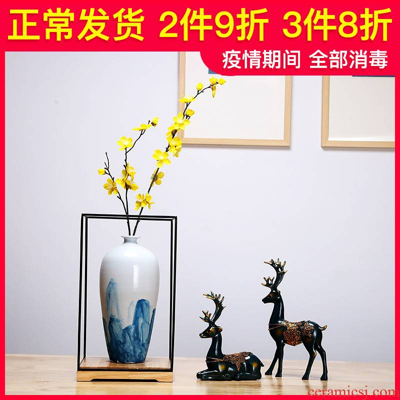 Jingdezhen ceramics vase sitting room of I and contracted style manual creative furnishing articles dried flowers flower arrangement craft