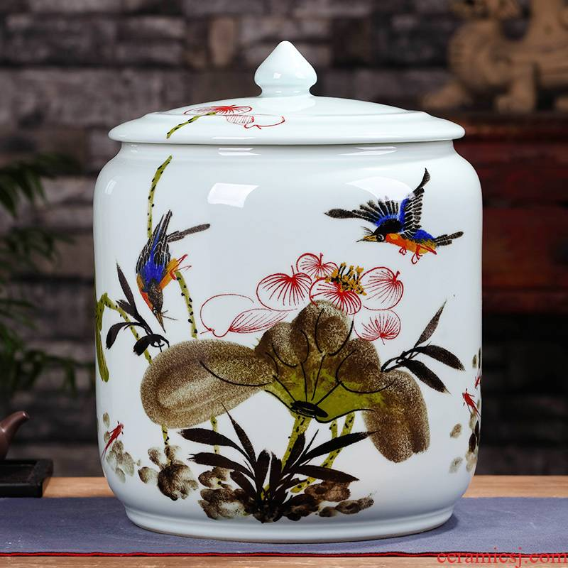 Jingdezhen ceramic seal manual caddy fixings tea cake box pu 'er tea, green tea to wake tea storage POTS tea urn