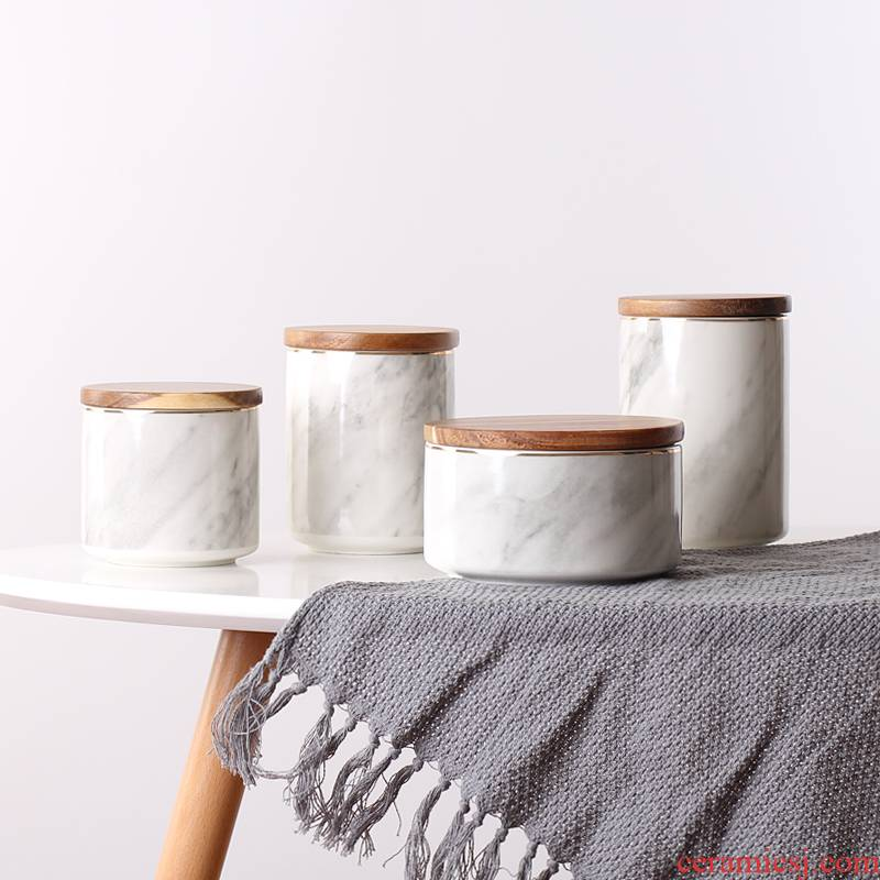 Scene for the Nordic marble sealed jar with cover to receive ceramic box storage jar of coffee tea candy jar