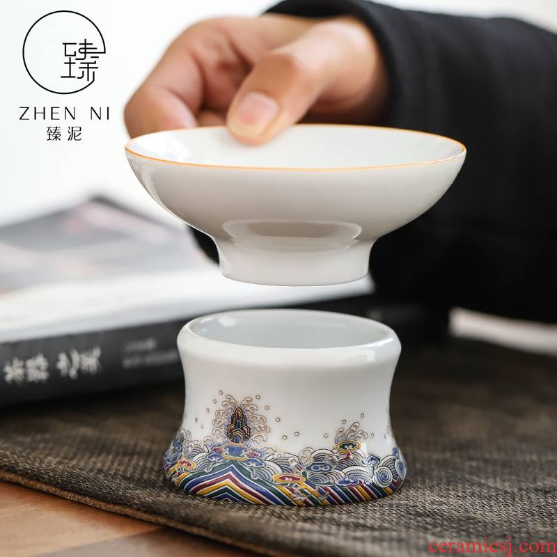 By mud) set of white porcelain enamel tea filter checking ceramic household tea filter kung fu tea accessories