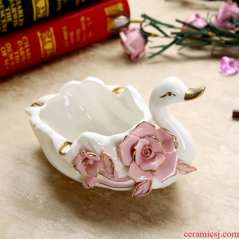 Rhinoceros, European - style ceramics swan ashtray household vogue to live in the sitting room of creative move furnishing articles tea table decorations
