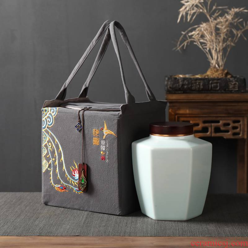 Chinese style tea as cans ceramic seal pot large POTS of the big yards household black tea to wake tea boxes moistureproof tank restoring ancient ways