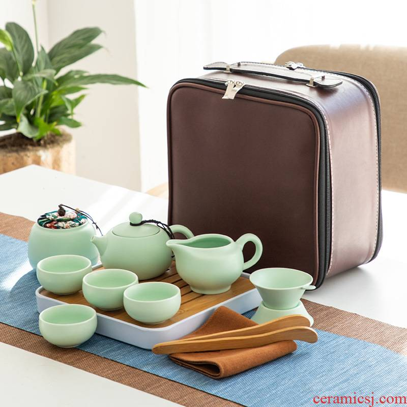 Four - walled yard portable travel tea set a pot of kung fu outdoors travel Four 4 cup teapot gifts customized logo
