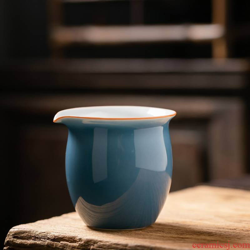 Fujian chong ji blue ceramic fair keller large household contracted creative well cup Japanese kung fu tea set against the hot points of tea