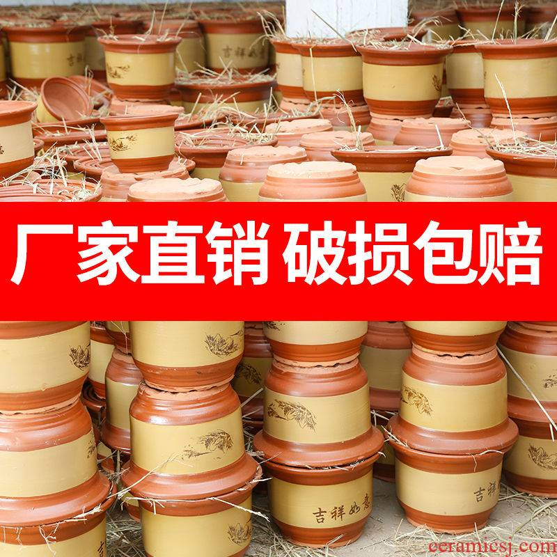Flowerpot ceramic flower pot oversized sale wholesale violet arenaceous basin to send red pottery pot tray orchid ground Flowerpot