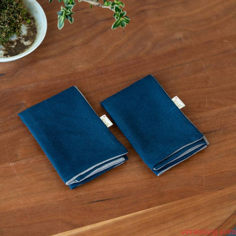 Lane, Combed cotton double color tea towel (2) Positive and negative contrast color cotton fabric edge horn fine morandi color