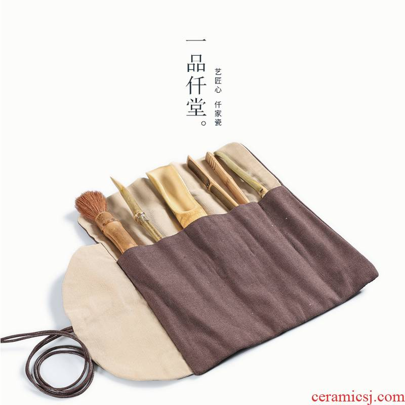 Yipin thousand hall tea accessories 6 gentleman bamboo tea set, grilled ChaGa teaspoons ChaZhen spoonful of kung fu tea set to zero