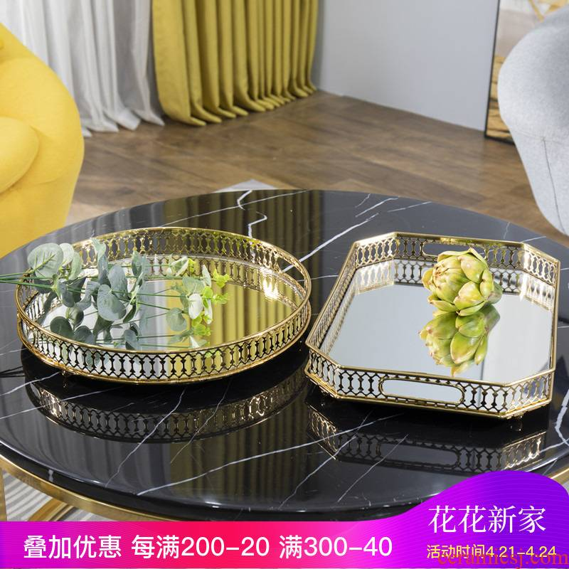 Nordic furnishing articles European American example room sitting room tea table decoration tray jewelry receive disc mirror soft adornment