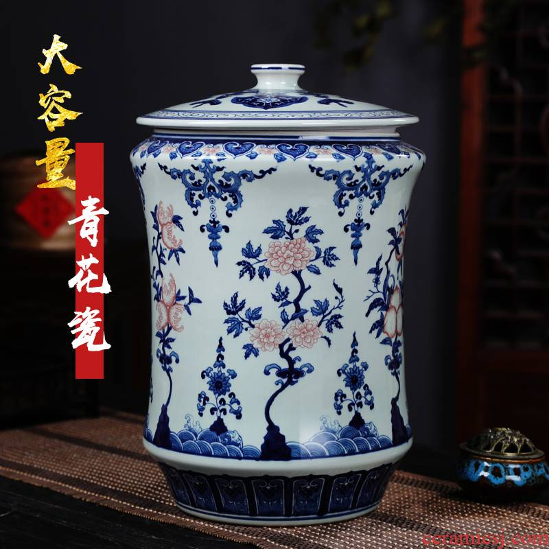 Jingdezhen porcelain youligong large black tea, green tea caddy fixings ceramics seal pot moistureproof POTS of household