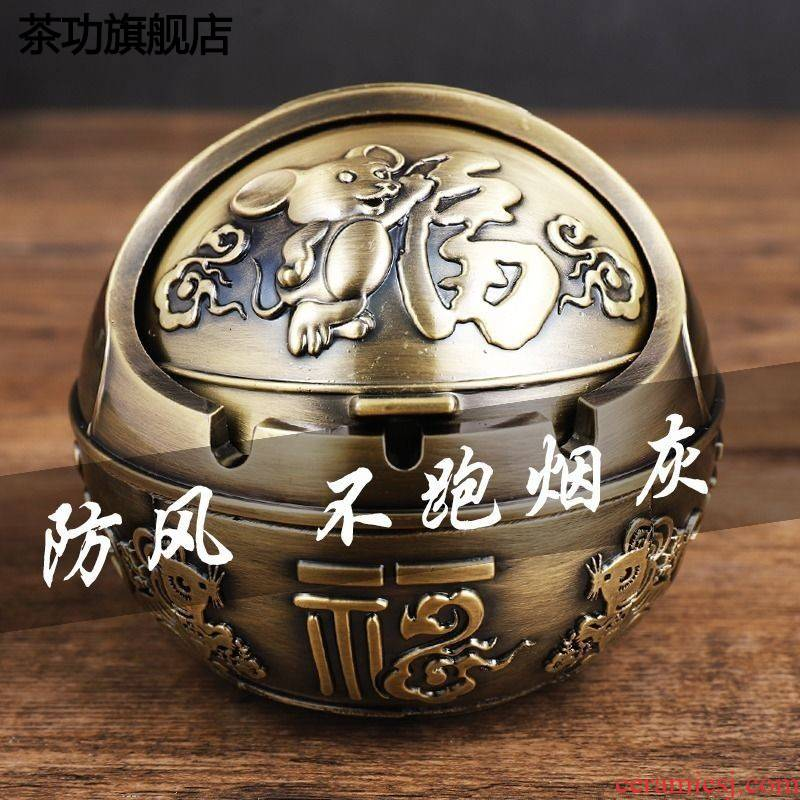 The ashtray wind restoring ancient ways with The cover of creative move to hold to European large high - grade home sitting room tea table ashtray