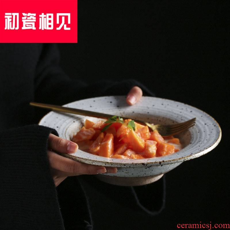 Porcelain meet each other at the beginning of straw plate of pasta dish home soup plate coarse pottery Japanese dishes retro creative steak salad bowls