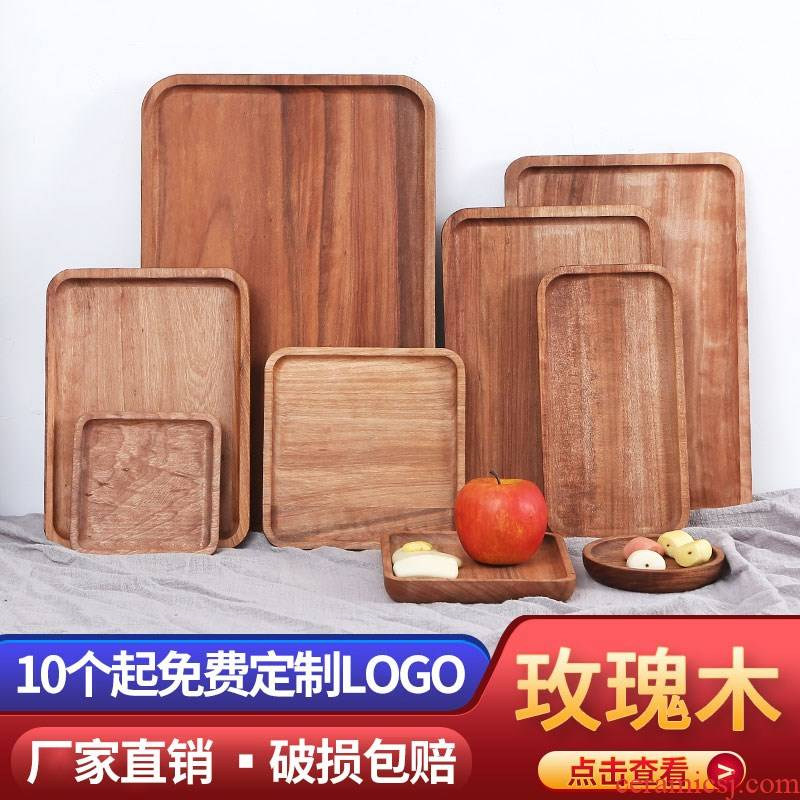 ; Japanese sushi wooden wooden tray rectangle plate household cup dish Nordic creative steak, pizza to burn