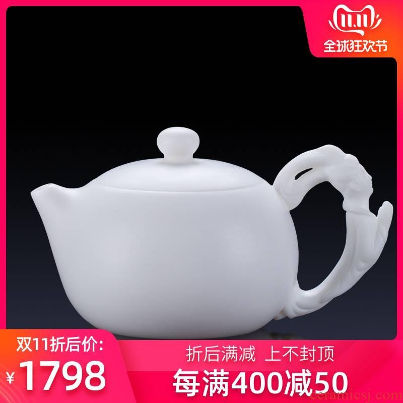 Artisan fairy manual white porcelain four beauty xi shi ceramic teapot large capacity household kung fu tea teapot