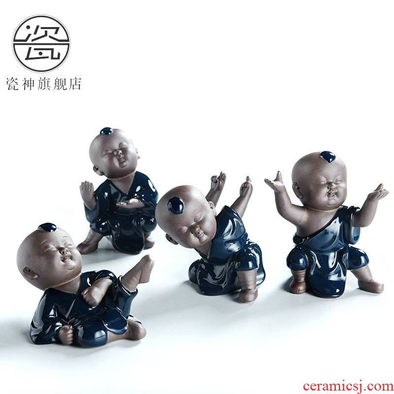 Ji blue glaze porcelain god the young monk kung fu boy ceramic pet furnishing articles manually zen tea play kung fu tea tea accessories
