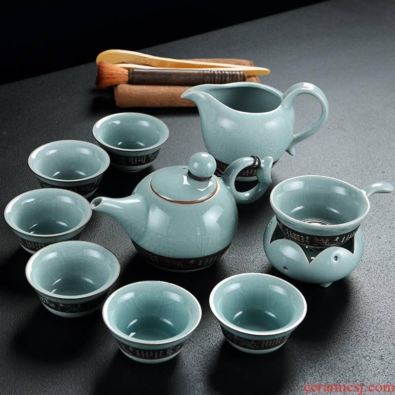 Old elder brother up at the grid slicing ceramics kung fu tea set narrow lid bowl of a complete set of tea cups of tea pot set
