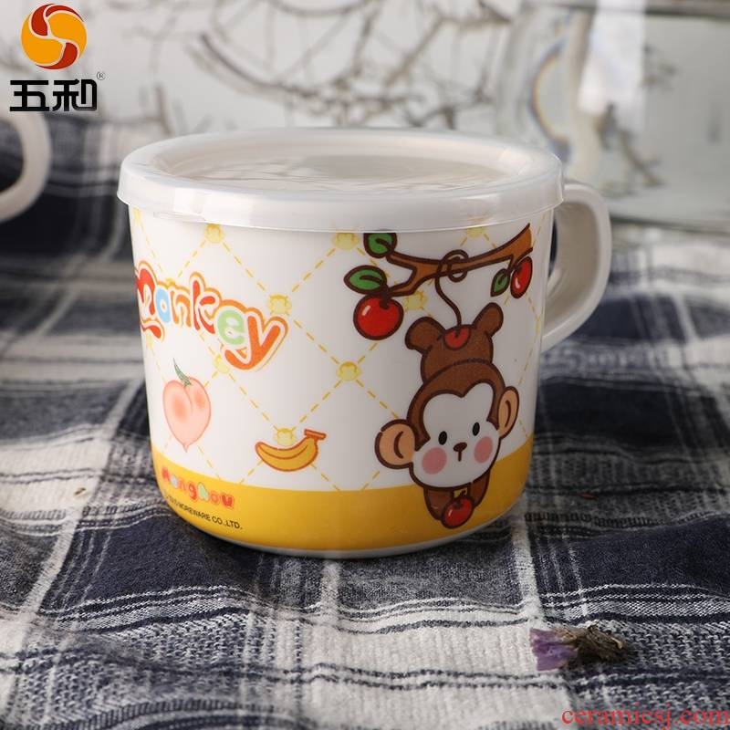 A String of guest melamine tableware express cartoon children baby cup with handle with cover leakage heat cup - 13