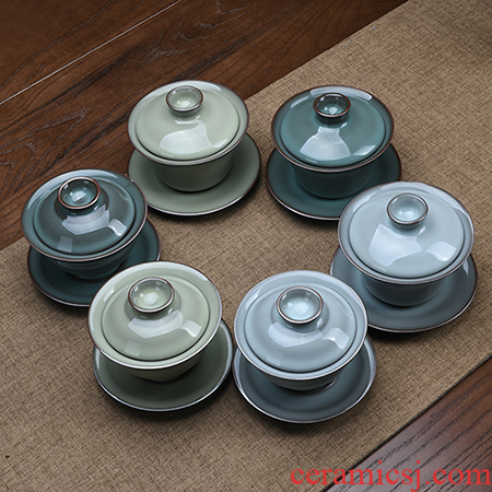 Xu ink celadon kung fu to three tureen cup bowl can keep on household suit single single tea bowl