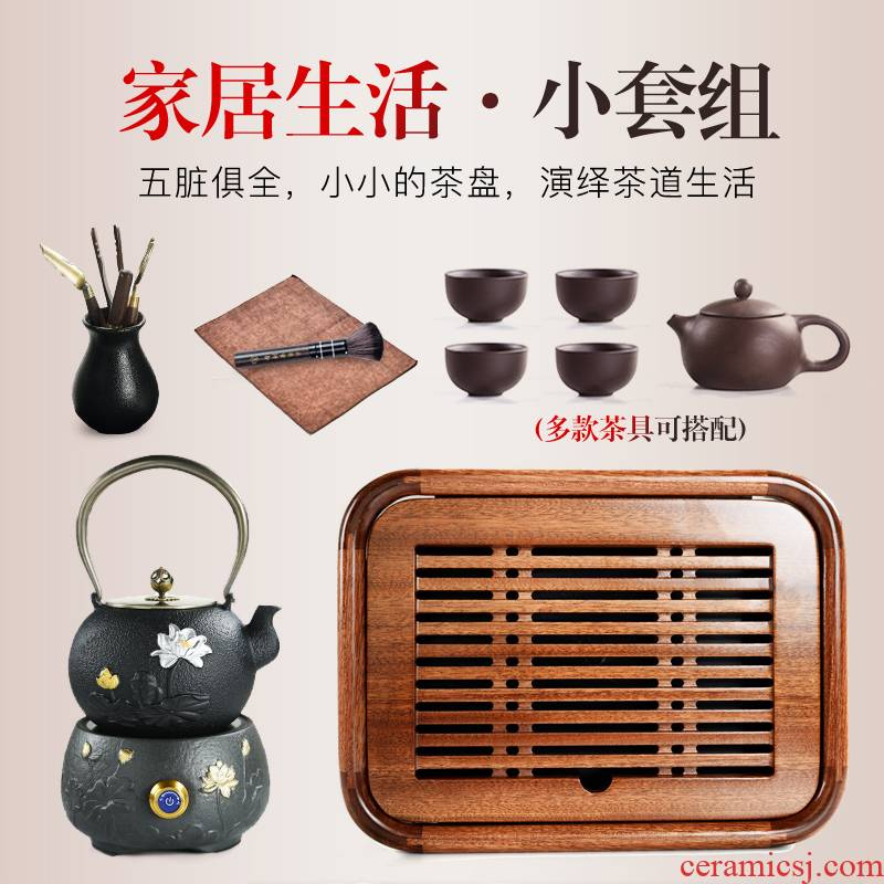 Porcelain sand Billy solid wood small mini tea tray was god contracted household water type tea sea kung fu tea tea tea