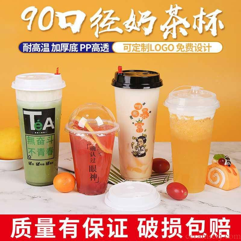 700 90 caliber one - time web celebrity creative plastic milk tea cups with cover take - away custom loo