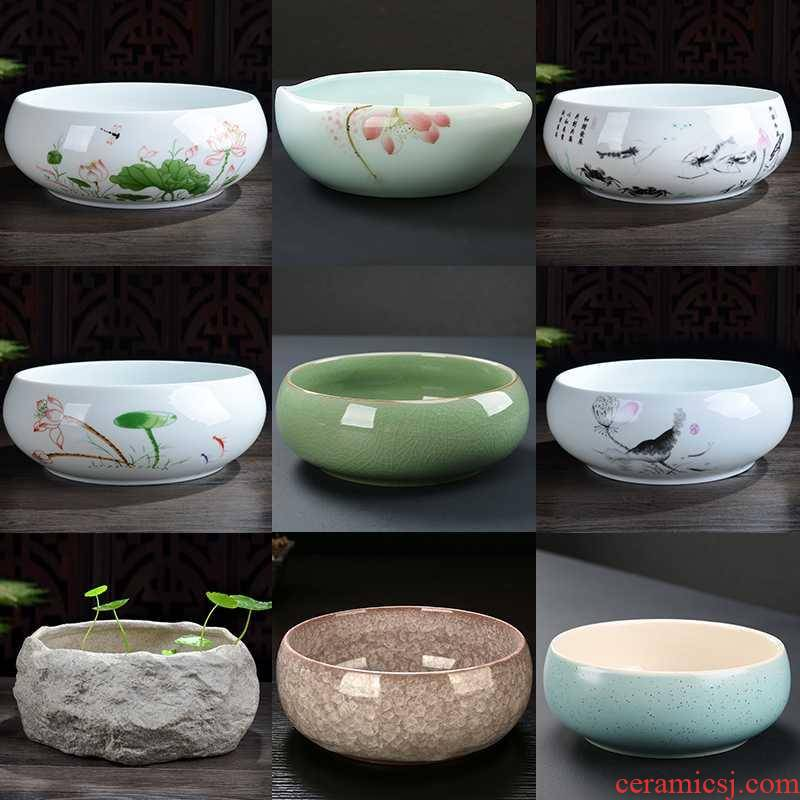 Technology of Japanese circular hydroponic pottery pot planting grass flower pot flowers and flowers large ceramic culture water lily money