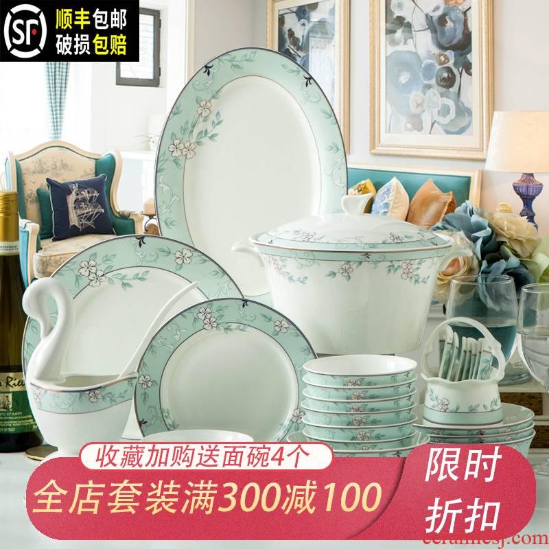 Jingdezhen tableware suit Korean dishes suit creative household ceramic bowl European - style ipads porcelain bowl chopsticks plate