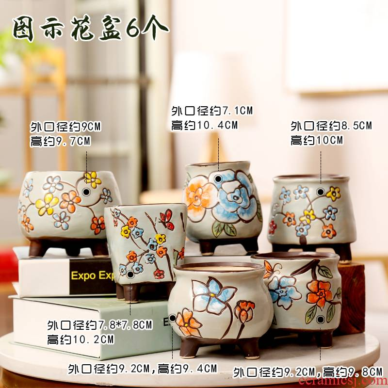 End flowerpot ceramic hand - made tiles to fleshy flower pot large special offer a clearance package mail breathable flower pot in move