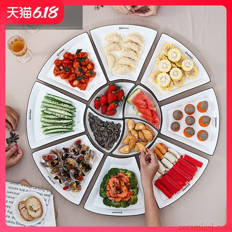 Hold to guest comfortable web celebrity creative ceramic platter 0 plate combination the prismatic big platter household tableware round ball