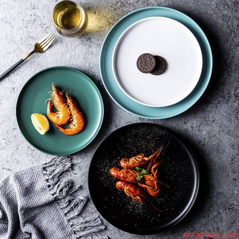 Nordic ceramic household steak dinner plate plate net red breakfast dishes creative ceramic plate plate plate