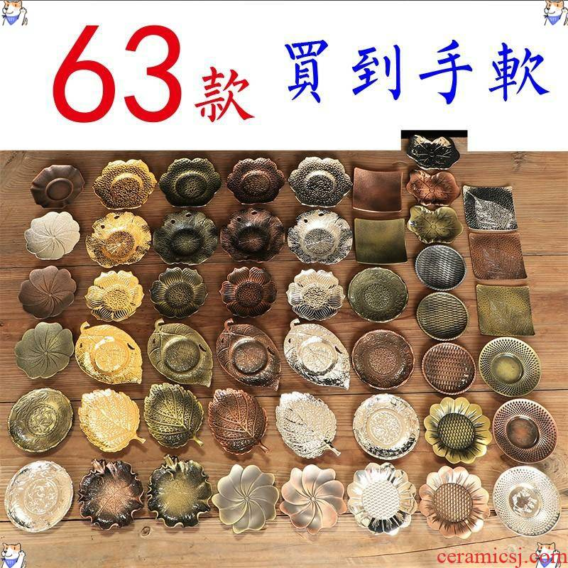 Manual bronze teacup pad copper alloy cup white insulation pad vintage Japanese kung fu tea tea accessories