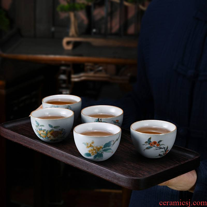 Xu ink sample tea cup archaize teacup cracked your up kung fu masters cup tea bowl of ceramic tea set single CPU personal cup