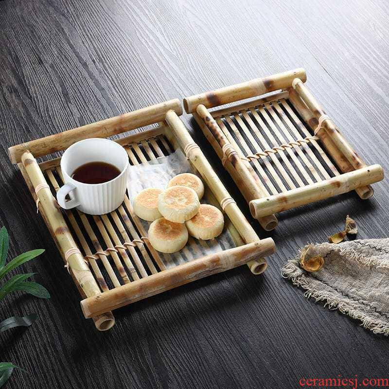 Retro saucer bamboo bamboo has compote desktop dim sum dish bamboo bamboo dish basket square Chinese tea table furnishing articles