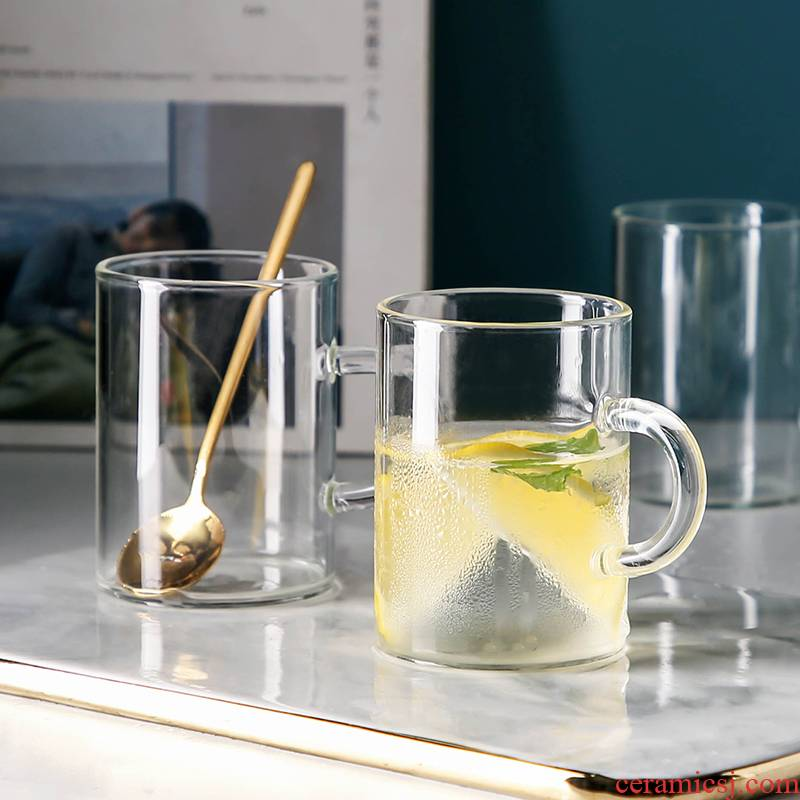 WUXIN water glass household contracted transparent glass cup milk cup of fruit juice cup picking breakfast cup